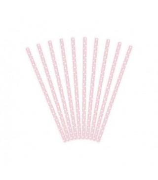 Трубочки для коктейля бумажные сиреневые в горох 25шт/уп