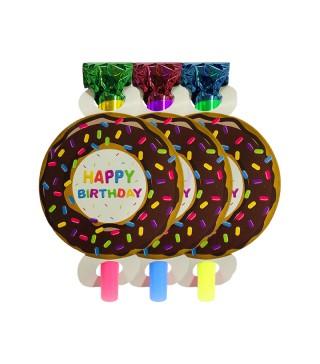 Язычок-гудок Happy Birthday Пончик 6шт/уп
