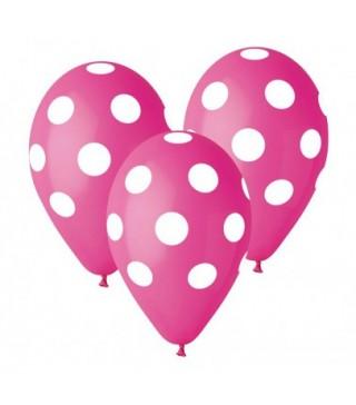 Кульки поштучно з малюн. рожевий в білий горох латекс Ш38383