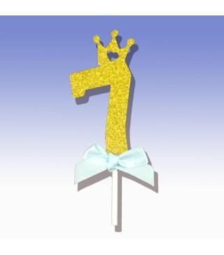 """Декорація на стіл Топер паперовий """"7"""" золото рож.бантик папір T-424 Китай"""