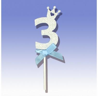 """Декорація на стіл Топер паперовий """"3"""" срібло рож.бантик папір"""