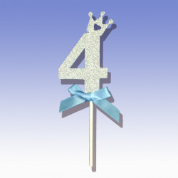 """Декорація на стіл Топер паперовий """"4"""" срібло"""