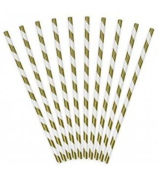 Трубочки для коктелю папер білі в золоту полоску10шт/уп. 49437 Польща