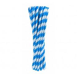 Трубочки для коктейлю блакитні в полоску 24шт/уп