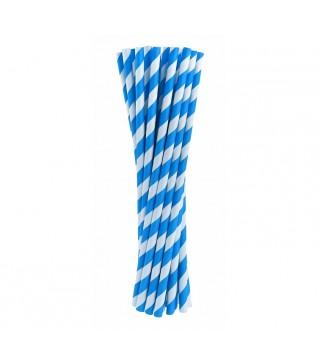 Трубочки для коктейля голубые в полоску 24шт/уп