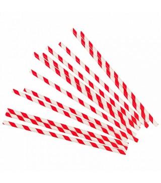 Трубочки для коктейлю червоні в полоску 24шт/уп