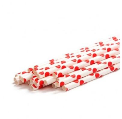 Трубочки для коктейля белые в красный горох 25шт/уп