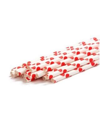 Трубочки для коктейлю білі в червоний горох 25шт/уп