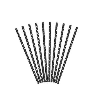Трубочки для коктейлю чорні в горох 25шт/уп