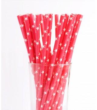 Трубочки для коктелю червоні в білі зірочки 25шт/уп. папір 6009 Китай