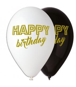 Набір кульок Happy birchday чорно-білі 5шт/уп