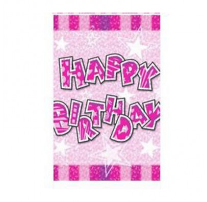 """Скатертина """" Happy birthday"""" розовая. Поліетилен 412270 Китай"""