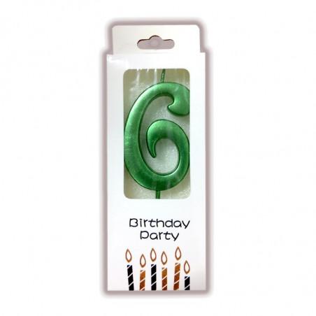 """Свічка цифра """"6"""" Зелена парафін 04606 Китай"""