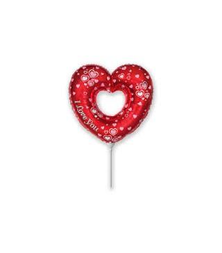 Кульки міні Серце в серці фольга 902746 FlexMetal