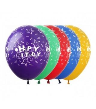 Кульки поштучно з малюн. Happy Birthday зірочки латекс Ш-00368 FlexMetal