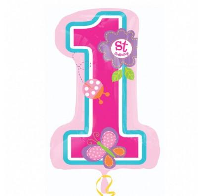 Шарик цифра 1 (71см) розовая