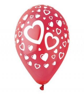 Набір кульок червоні Сердечка 5 шт/уп