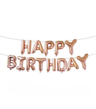 Кульки Цифра Букви HAPPY BIRTHDAY рожеве-золото 40см 564893 Польща