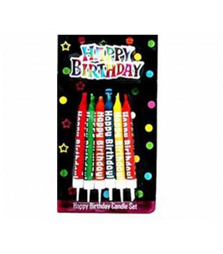 Свічки класичні Кольор Happy birthday12 шт./уп з підстав. парафін 074741 Китай