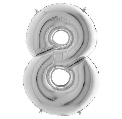 Шарик Цифра 8 (86см) серебро