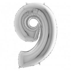 """Кульки Цифра 9срібло""""40""""(8пор) 750009 Китай"""