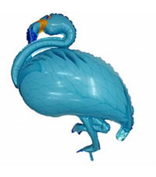 Шарик фольгированный фигурный Фламинго голубой