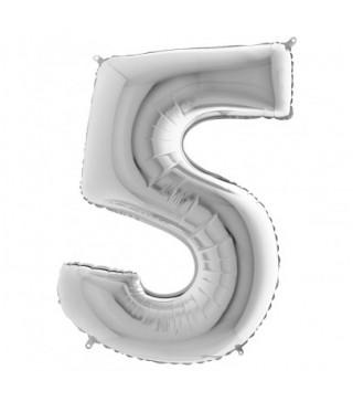 """Кульки Цифра 5срібло""""40""""(8пор) 750005 Китай"""