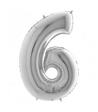 """Кульки Цифра 6 срібло""""40""""(6пор) фольга 750006 Китай"""
