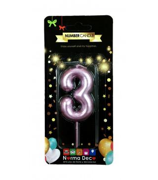 """Свічка цифра """"3""""рожева парафін 07403 Китай"""
