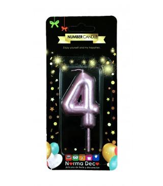 """Свічка цифра """"4""""рожева парафін 07404 Китай"""