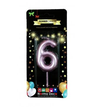 """Свічка цифра """"6""""рожева парафін 07406 Китай"""