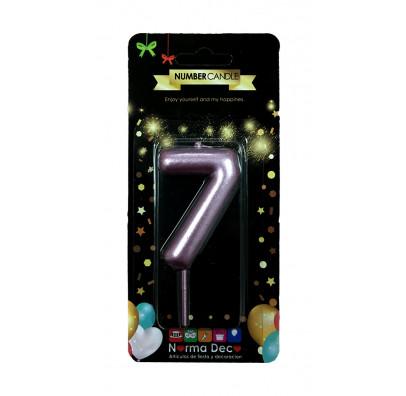 """Свічка цифра """"7""""рожева парафін 07407 Китай"""