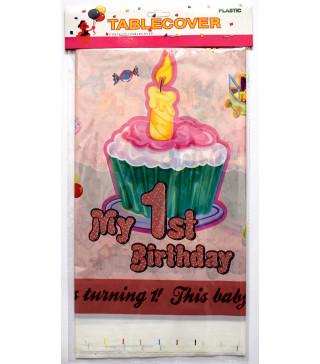 """Скатертина """"My 1 st Birthday"""" роз. Поліетилен 412264 Китай"""
