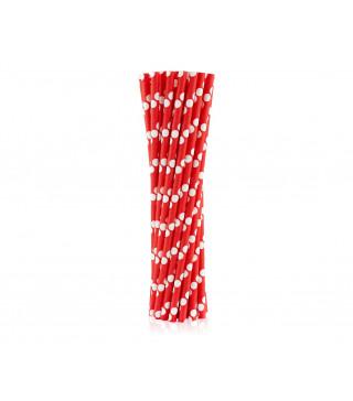 Трубочки для коктейля красные в горох 25шт/уп