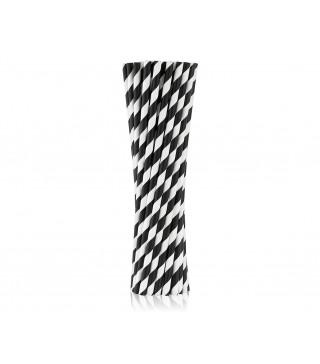 Трубочки для коктелю папер білі в чорну полоску10шт/уп. 49437 Польща
