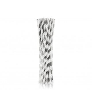 Трубочки для коктелю папер білі в сріблу полоску 25шт/уп. 49439 Польща