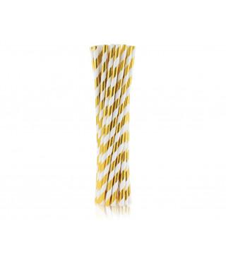 Трубочки для коктелю папер білі в золоту полоску 25шт/уп. 49437 Польща