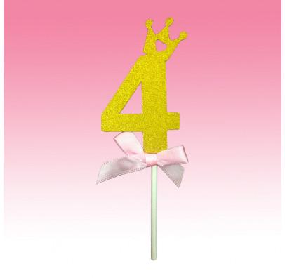 """Декорація на стіл Топер паперовий """"4"""" золото рож.бантик папір T-424 Китай"""
