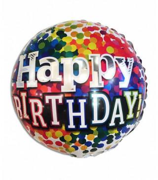 Кульки фольг з малюнк. Happy birthday кольр. конфеті (2,5пор) 2151072 Китай