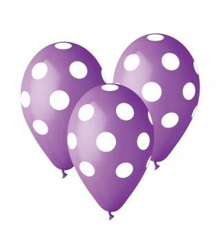 Набір кульок Фіолетові у білий горох 5 шт/уп