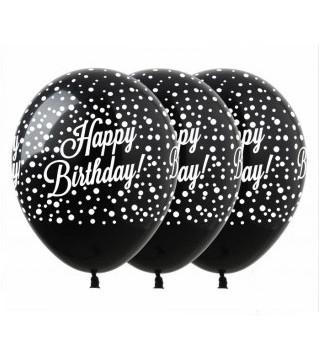 Кульки поштучно з малюн. Happy Birthday чорні латекс Ш-02173 FlexMetal
