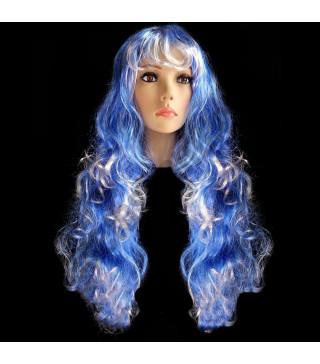 Перука Хвиляста синьо-біла 50см штучне волосся S-10731 Китай