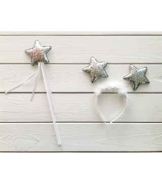 Чарівна паличка Набір Феї срібла зірка пластмаса, тканина, метал 11612 Китай