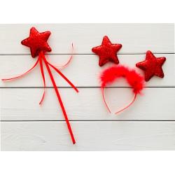 Чарівна паличка Набір Феї червона зірка пластмаса, тканина, метал 11613 Китай