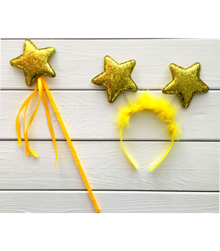 Чарівна паличка Набір Феї золота зірка пластмаса, тканина, метал 11611 Китай