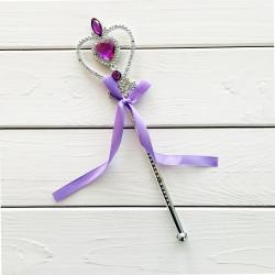 Чарівна паличка Срібна з камінчиками з фіолет.ленточкою пластик 62001 Китай