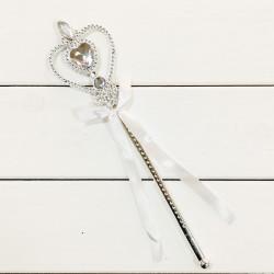 Чарівна паличка Срібна з камінчиками та стрічкою