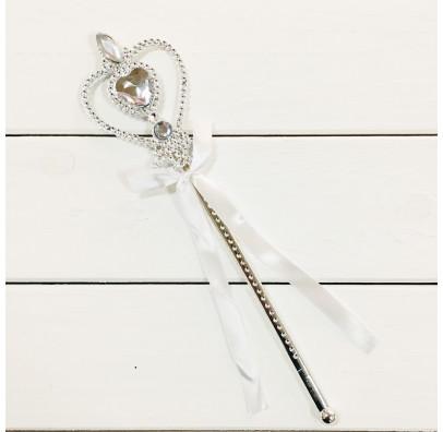 Волшебная палочка Серебряная с камешками и ленточки