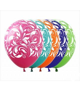 """Кульки пастель 12"""" Асорті в Узори100шт/уп GS110/362 00332 Gemar"""