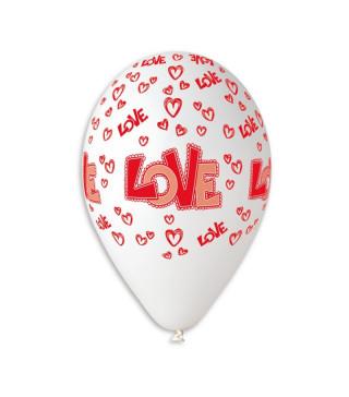 """Кульки поштучно з малюн. паст. """"12""""білі в сердечкаLOVE Ш-11929 Gemar"""